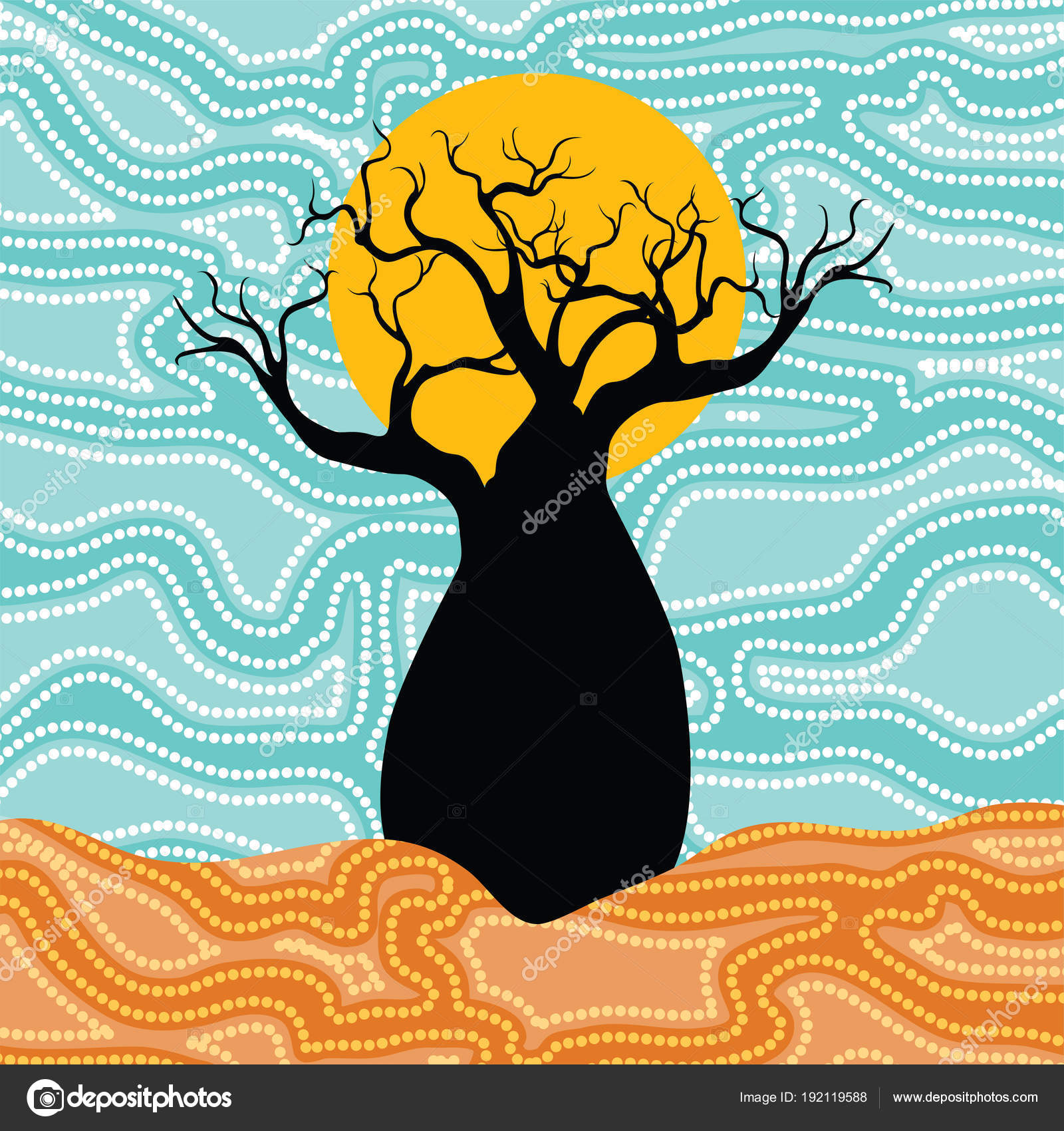 Boab Baobab Tree Vector Painting Aboriginal Dot Art Vector