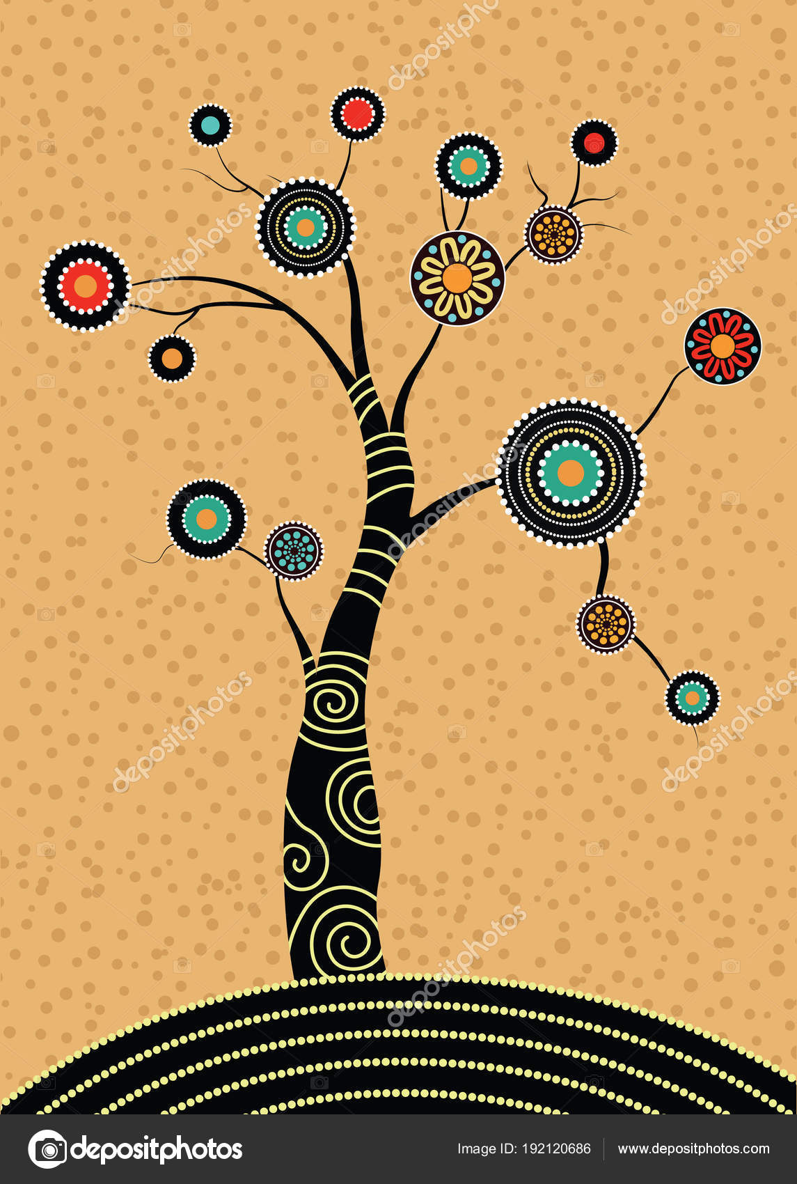 Aboriginal Tree Aboriginal Art Vector Painting Tree Illustration