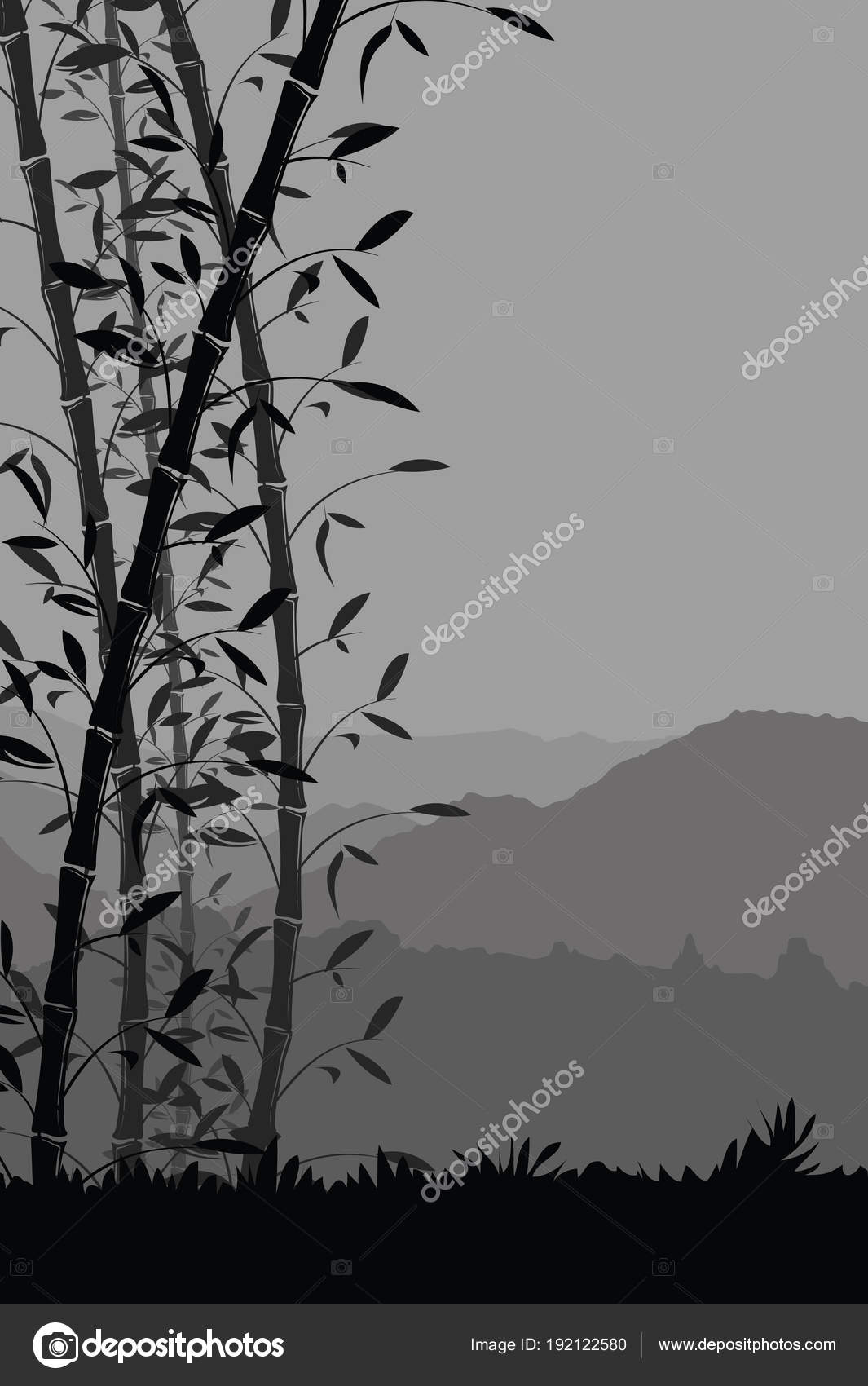 Vector Portrait Black Wallpaper Nature Background Bamboo
