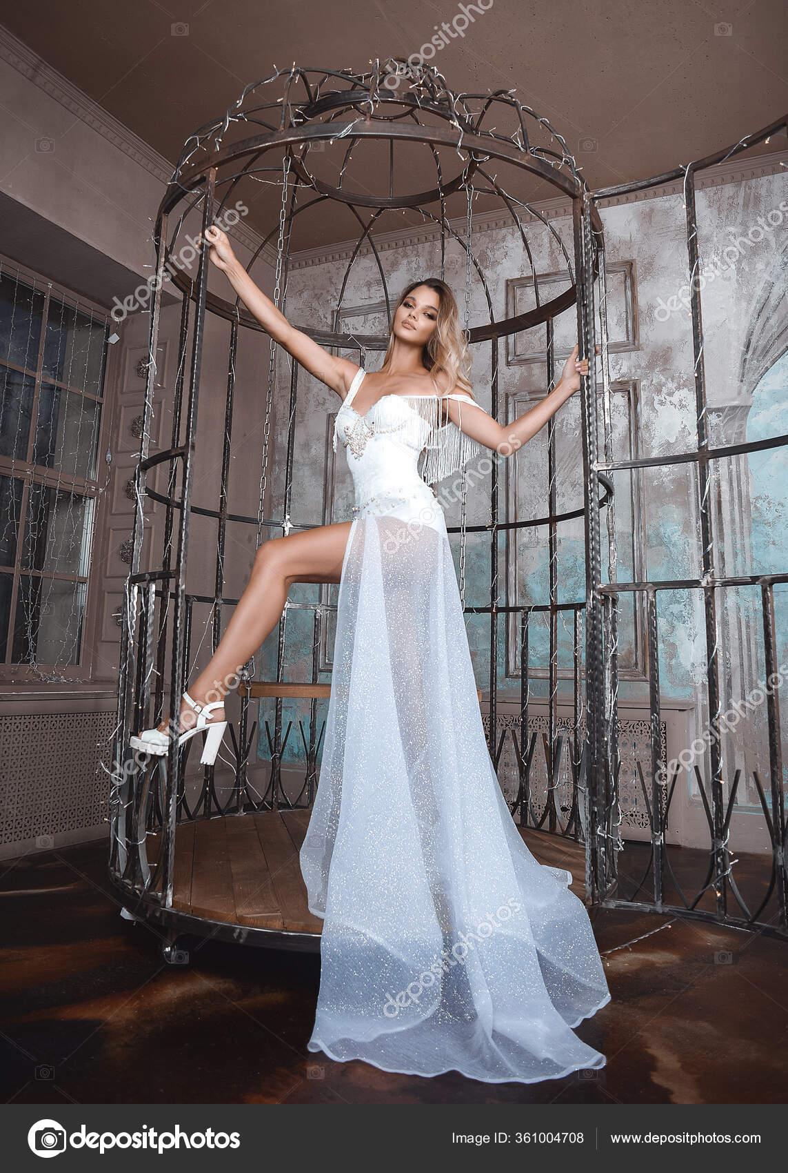 Красивая Принцесса Шикарном Белоснежном Платье Длинным ...