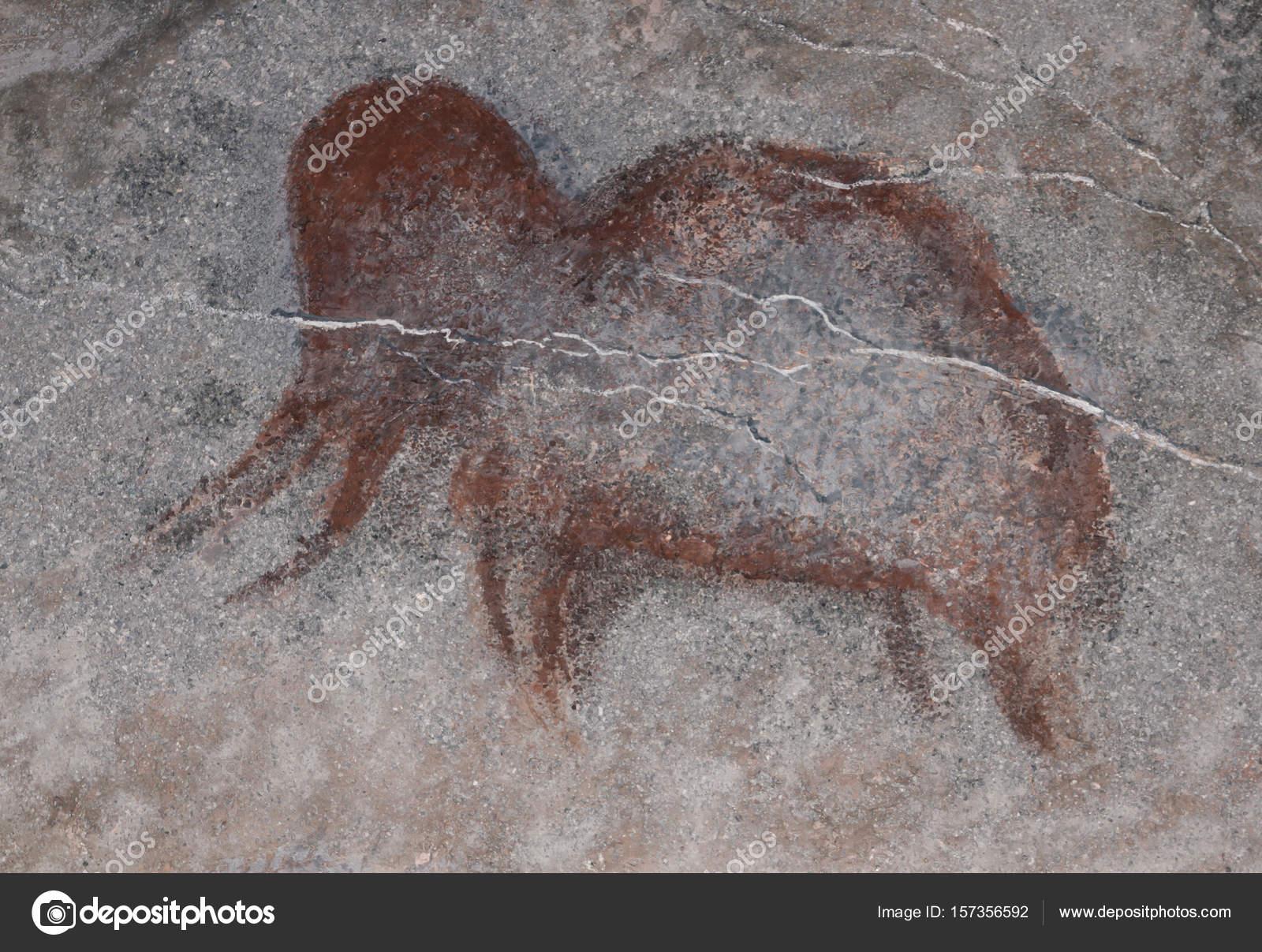 Kresby V Jeskyni Staroveke Pravekeho Cloveka Barva Okrova Stock