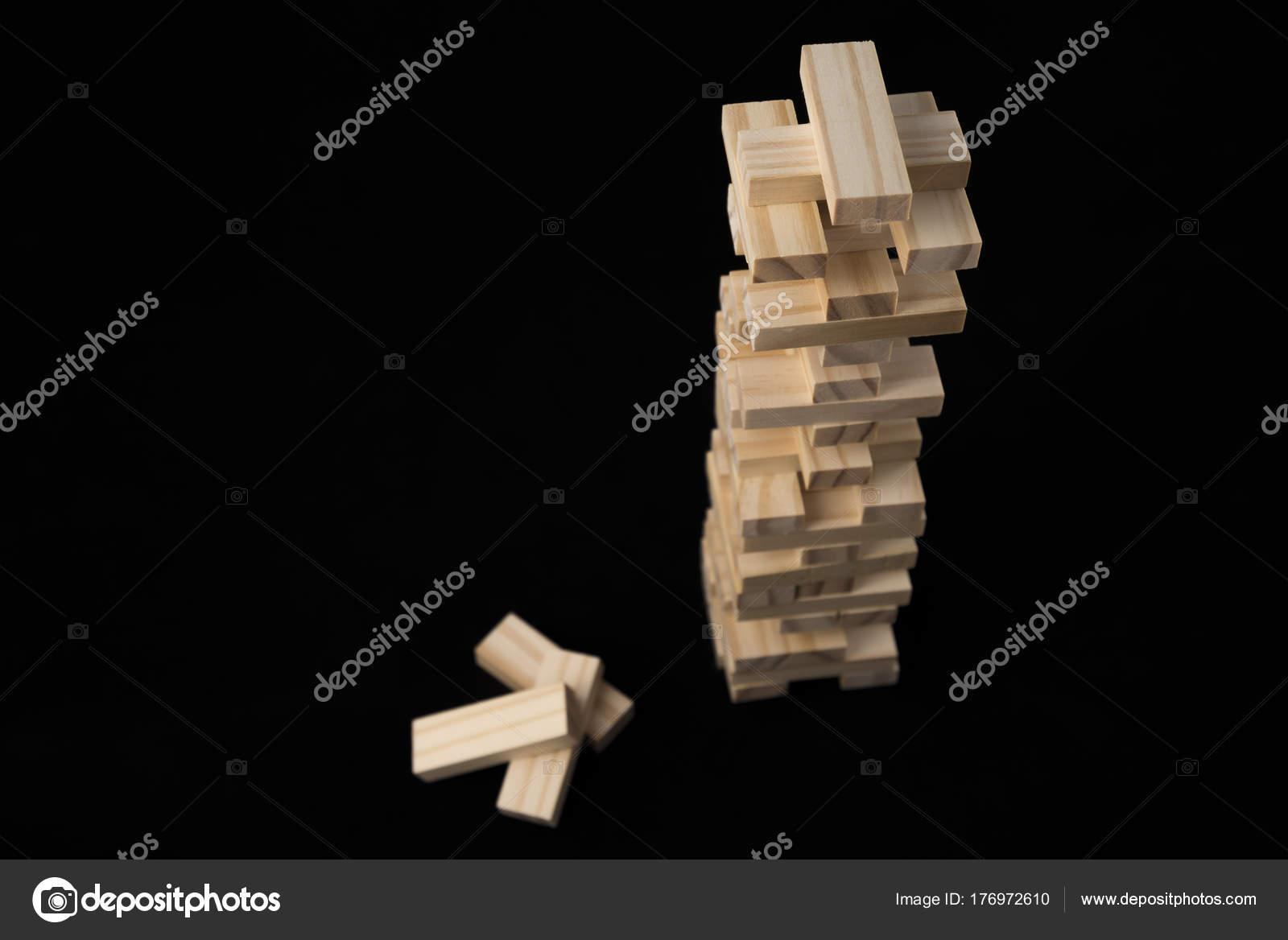 Tower Wooden Blocks Toy Black Background Learning Development