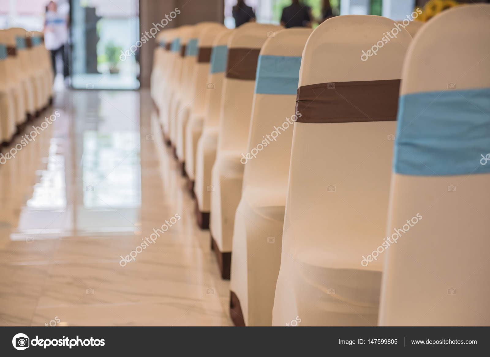 Beautiful Decorated Chairs In The Room . Empty Hall For Presentation U2014  Stock Photo
