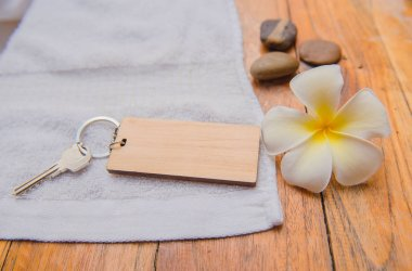 Wooden key chain on wood table