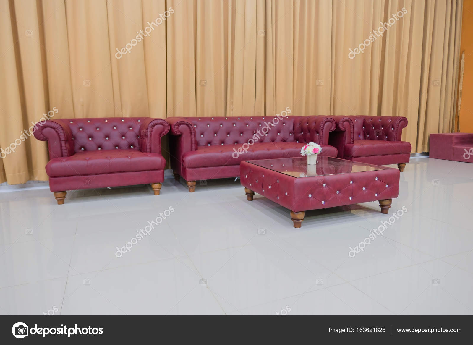 Stupendous Set Red Sofa And Yellow Curtains Background Stock Photo Camellatalisay Diy Chair Ideas Camellatalisaycom