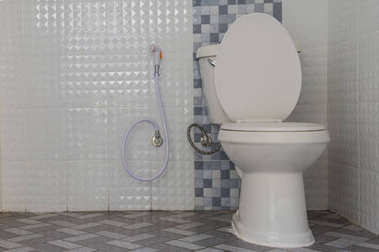 Interior Of Modern Toilet bowl in bathroom