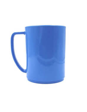 empty blue plastic cup isolated on white background of file with Clipping Path .
