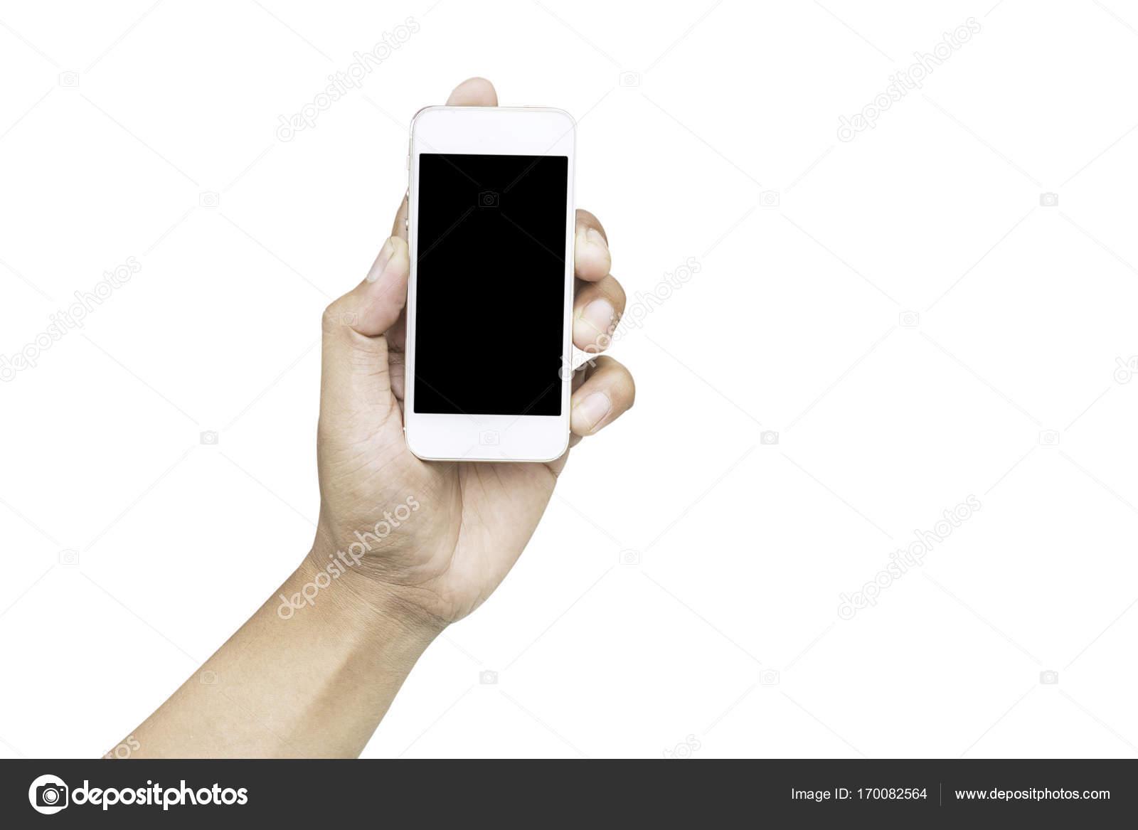Mano Che Tiene Il Cellulare Su Sfondo Bianco Foto Stock