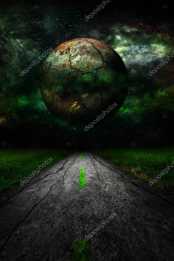 Dark star over rural road landscape