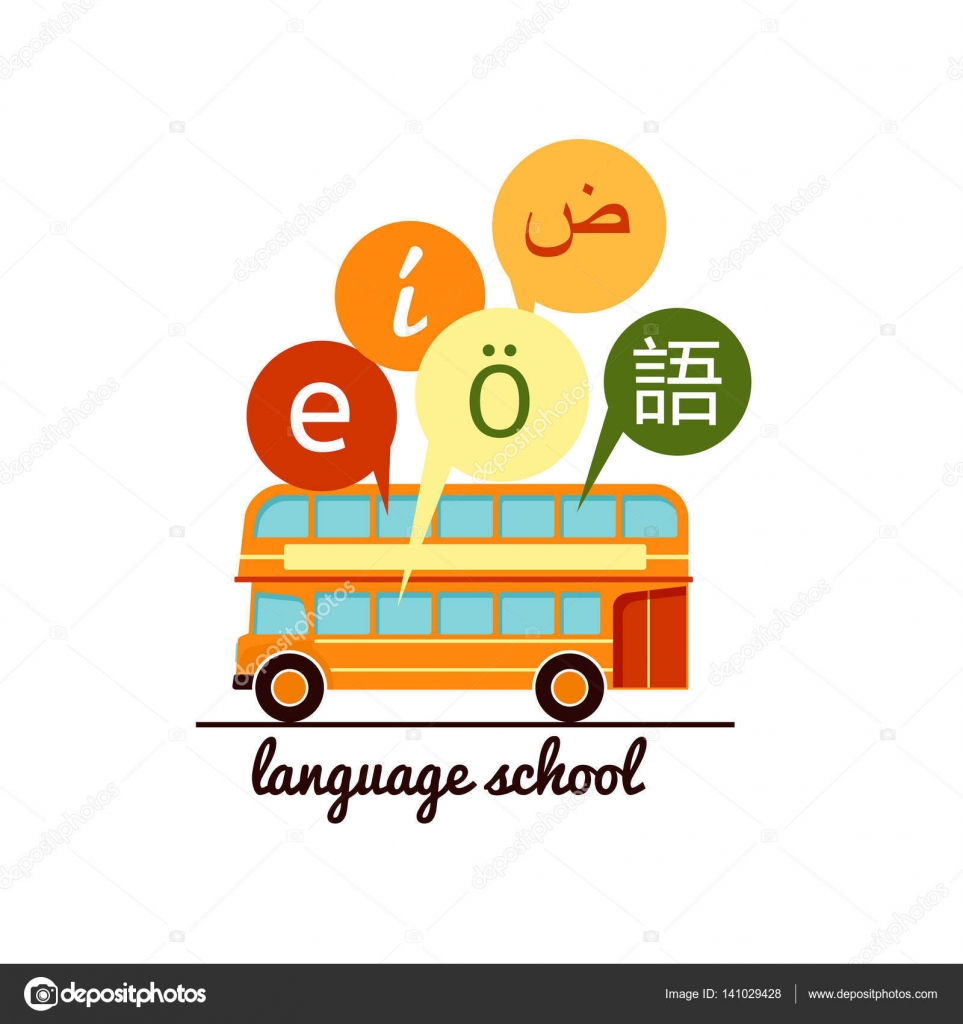Languages School Icon Speech Bubbles With Letters Of Foreign