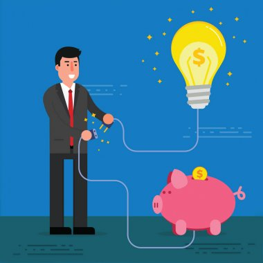 Young businessman or broker connect light bulb and piggy bank wi
