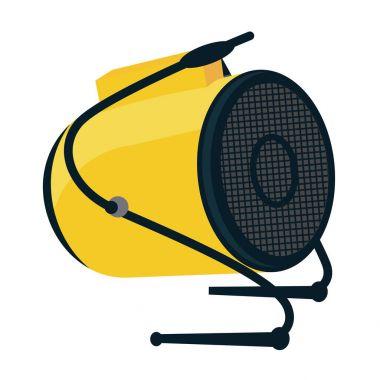 Industrial electric fan heater icon. Construction heat gun instr
