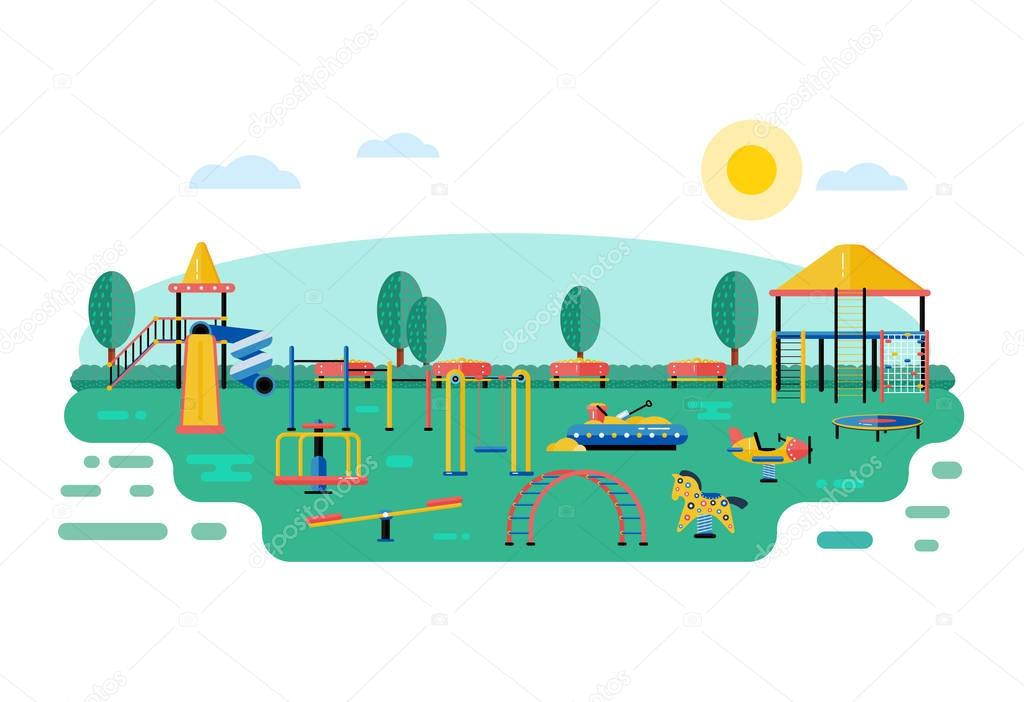 Kids playground vector landscape in flat design. Children play a