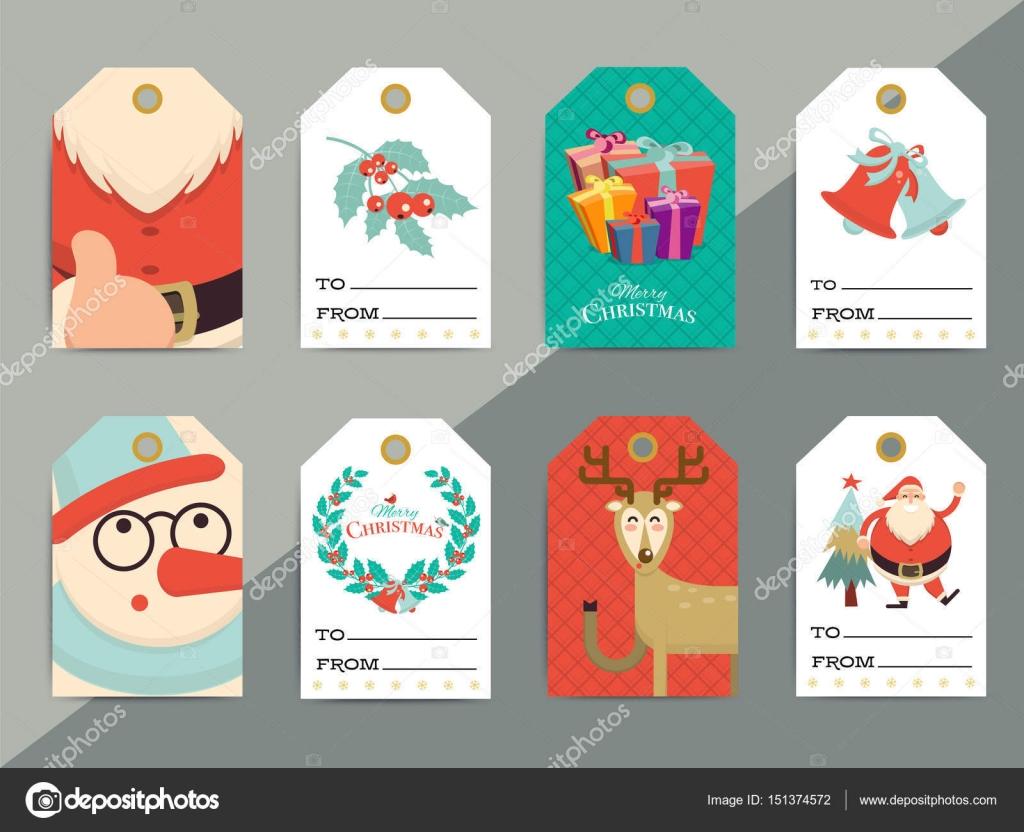 Regalo de Navidad Etiquetas conjunto de plantillas. Caja de Navidad ...