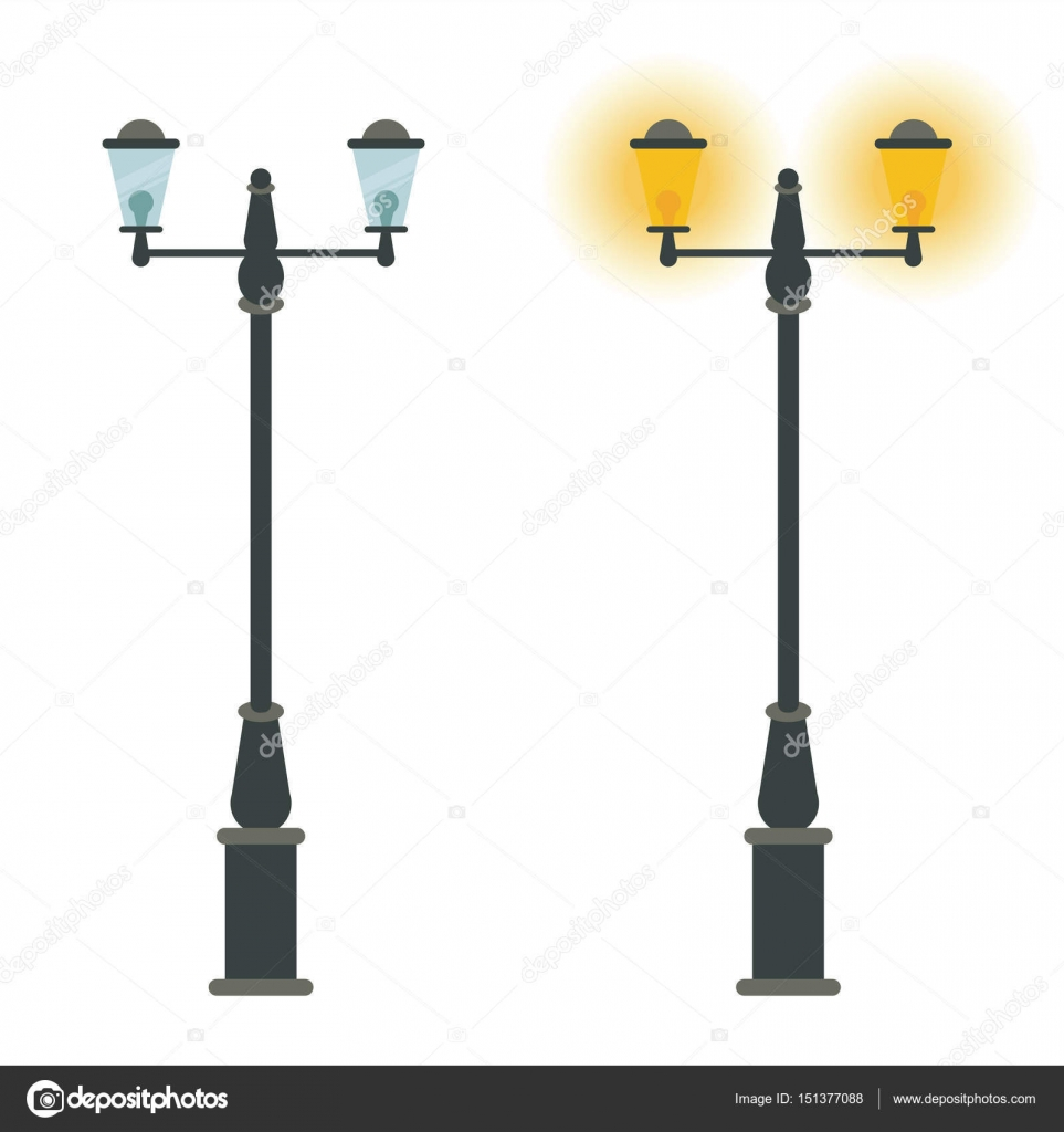 Landscape Lighting Icon: Street Lamp Vector Icon Design. Outdoor City Classic