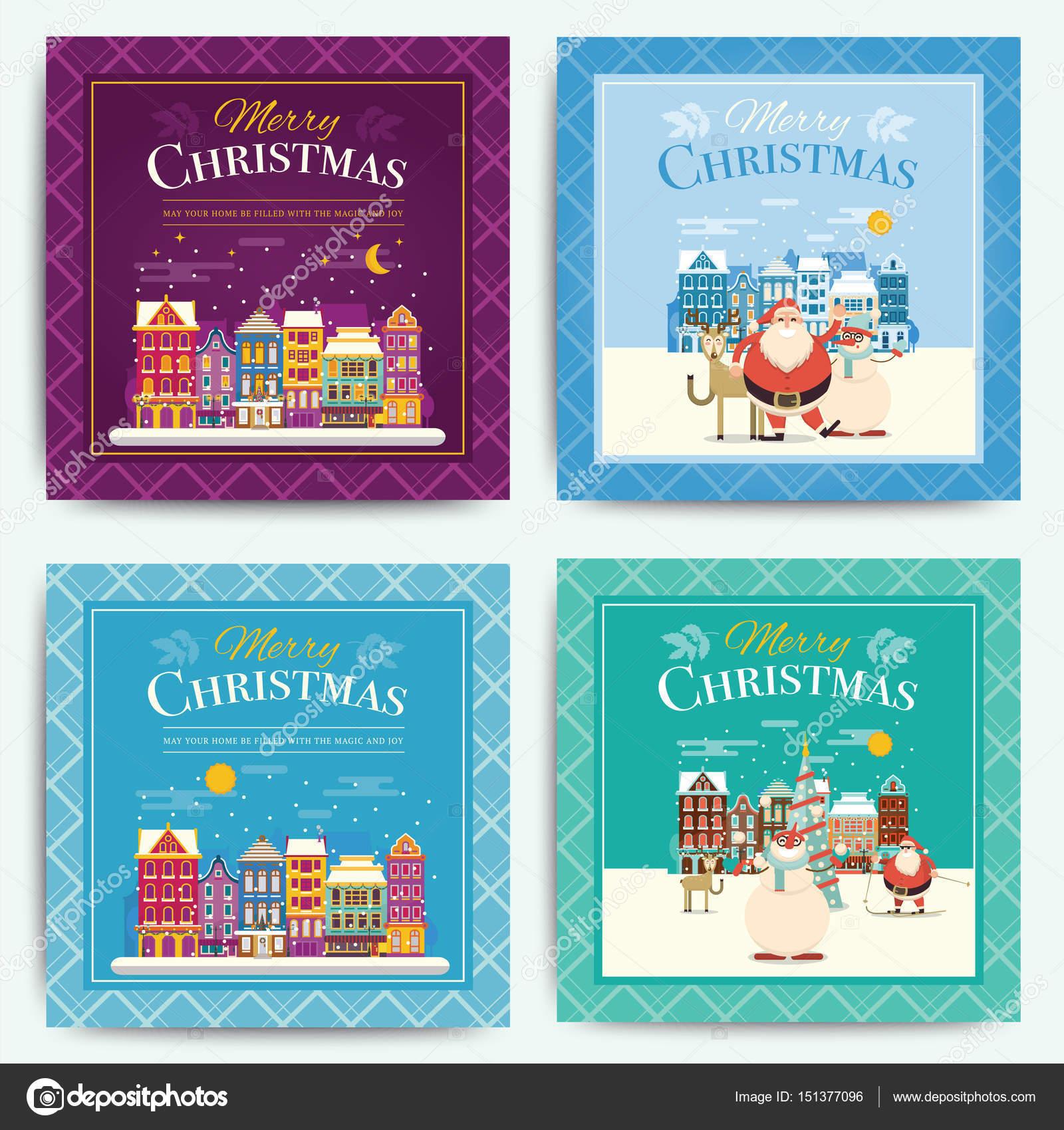 Ajuste de plantilla de tarjeta de felicitación de Navidad ...