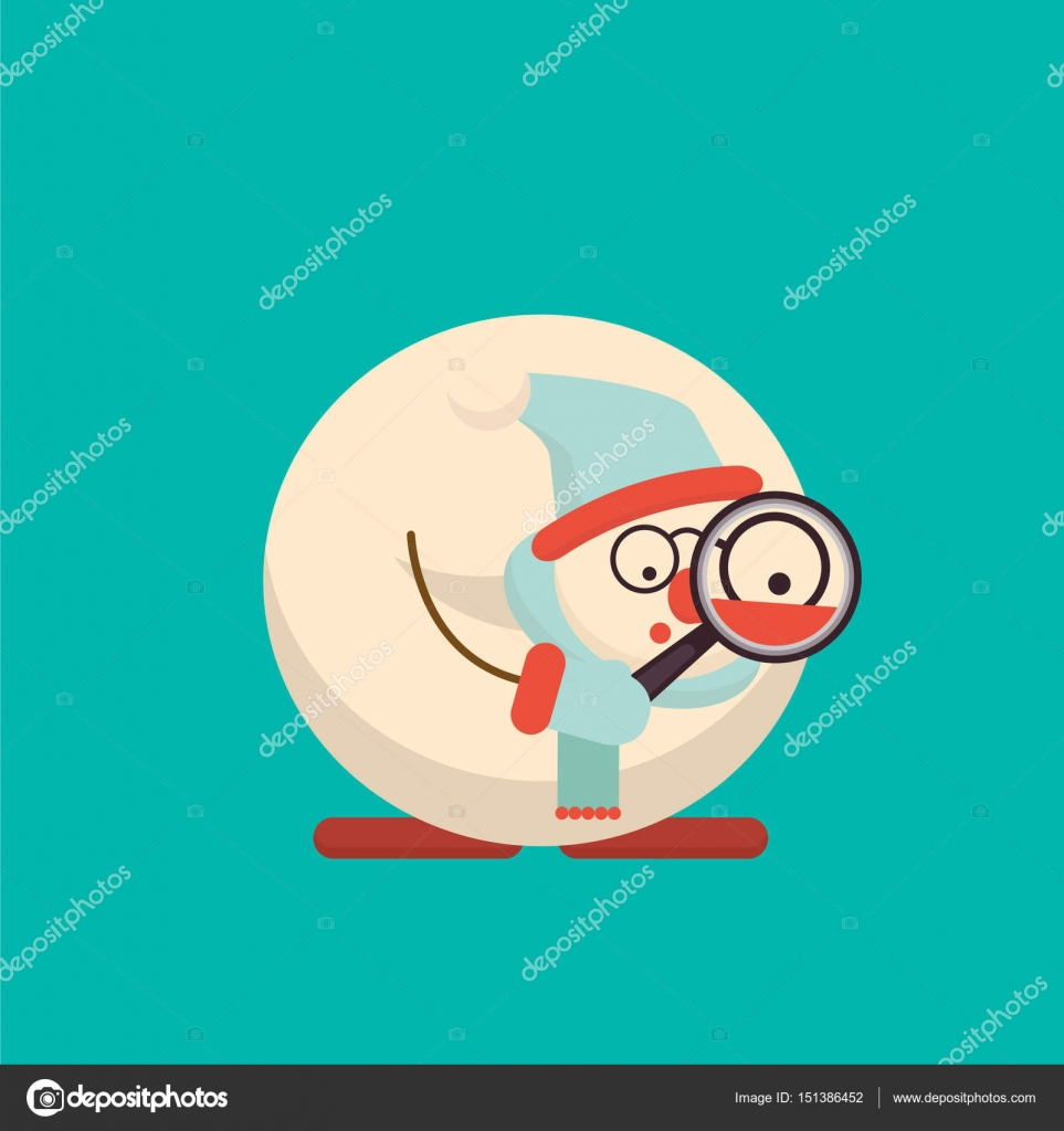 Weihnachten Schneemann stehend mit Lupe. Niedlichen Cartoon fröhlich ...
