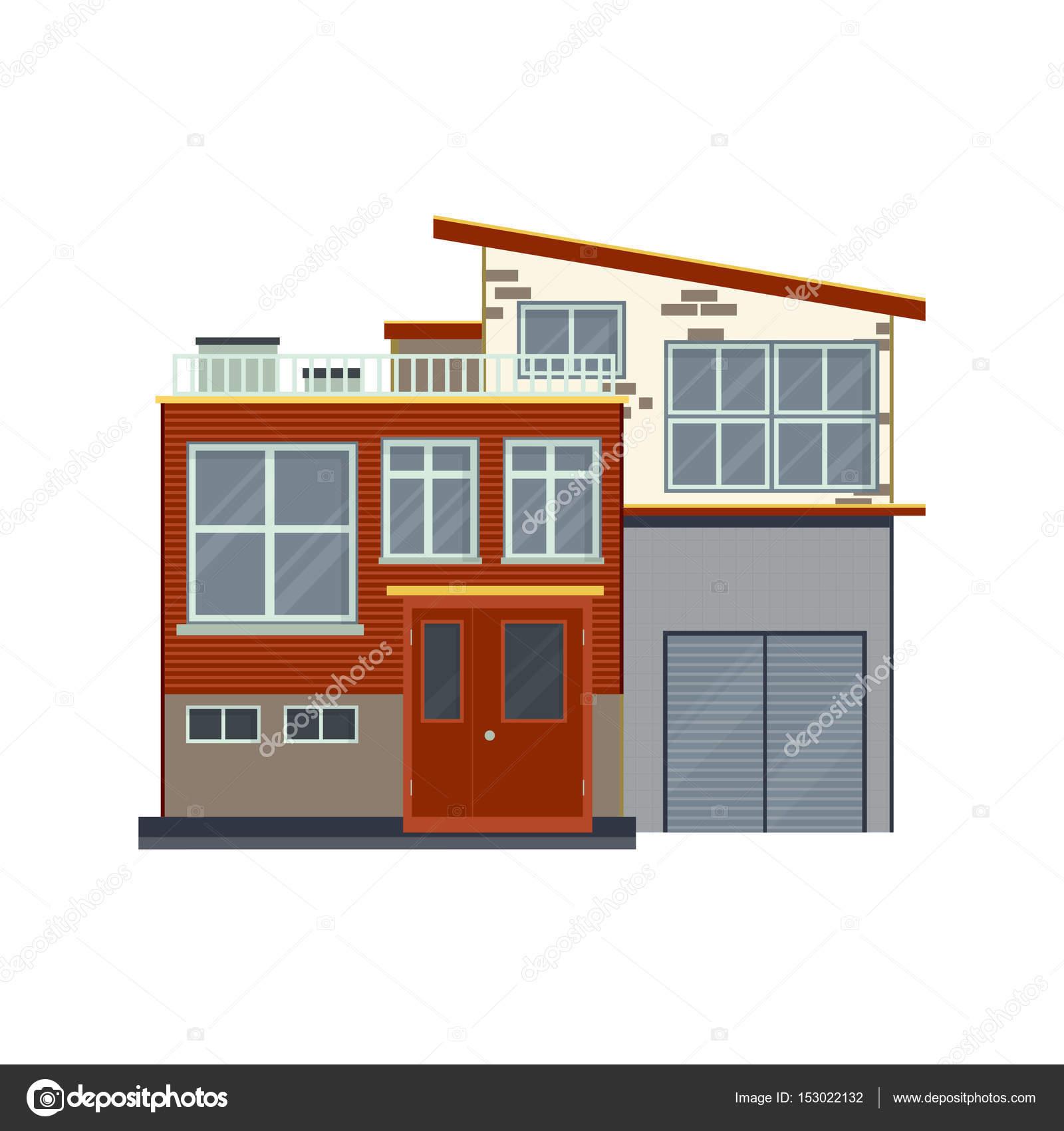 Moderne Häuser oder Villen front Detailansicht. Zeitgenössische real ...