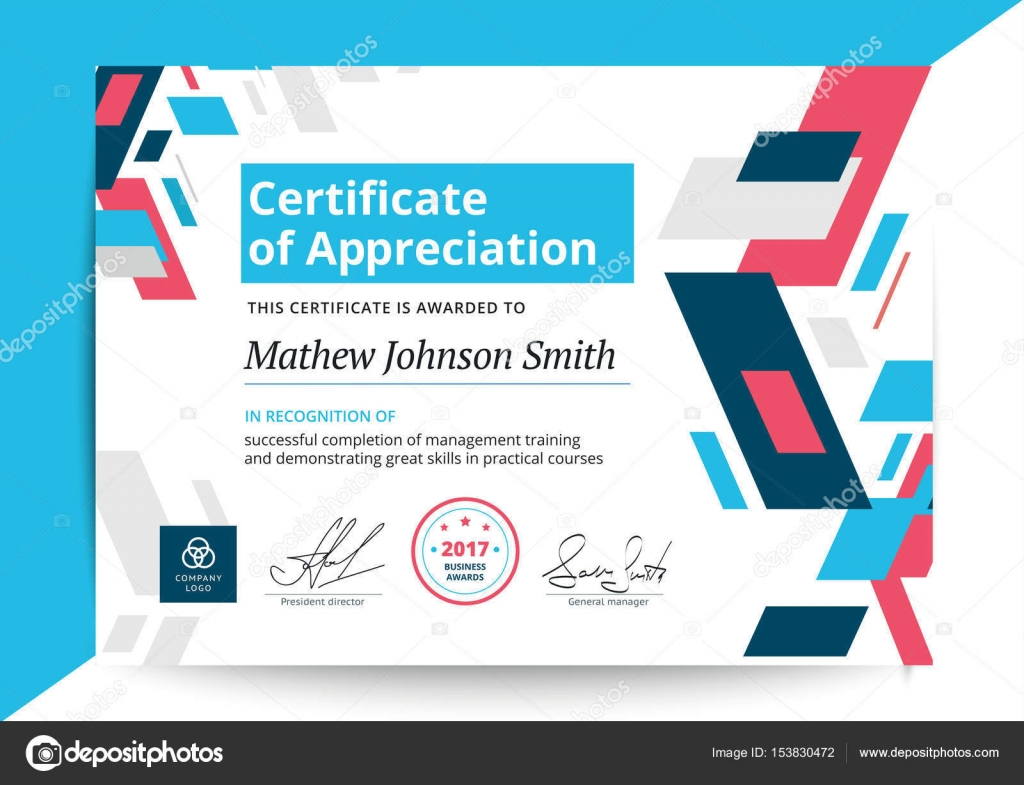 Certificate of appreciation template in modern design business certificate of appreciation template in modern design business diploma layout for training graduation or course completion vector background illustration yadclub Image collections