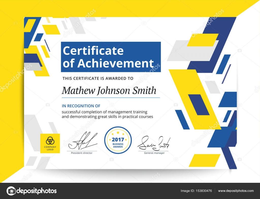 Certificado de plantilla logro en diseño moderno. D de negocio ...