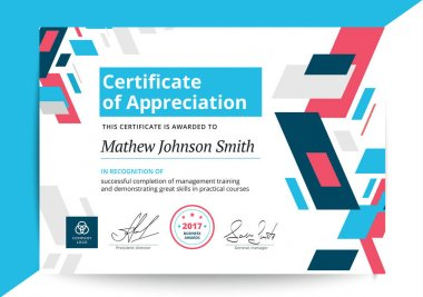Certificate of appreciation template in modern design. Business