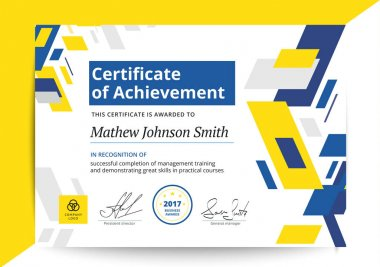 Certificate of achievement template in modern design. Business d