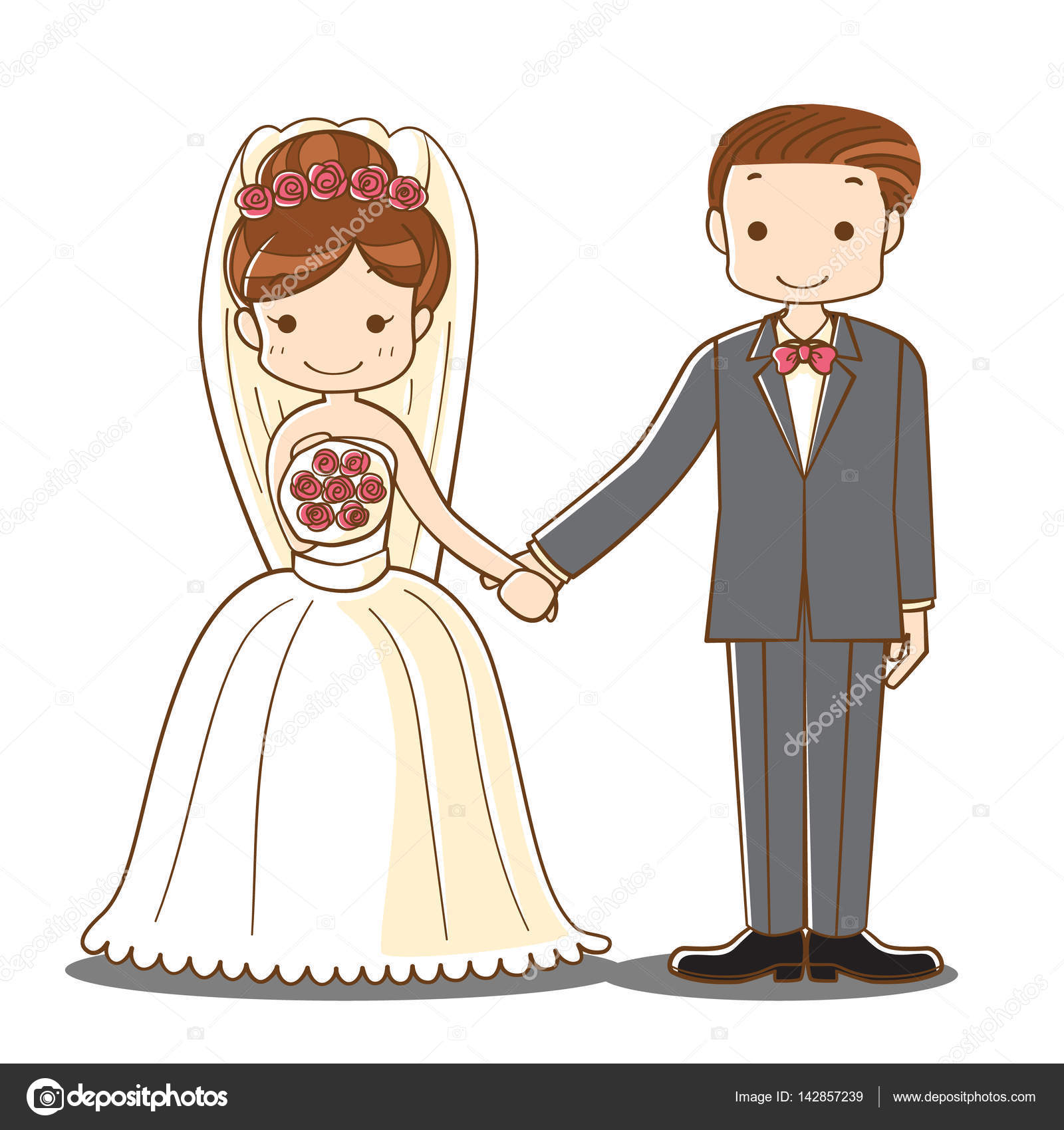Wedding Couple Holding Hand Cartoon