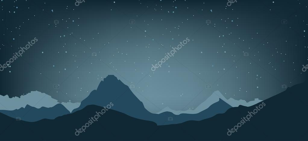 Landscape of the highlands. The night sky and the mountains. Vector illustration