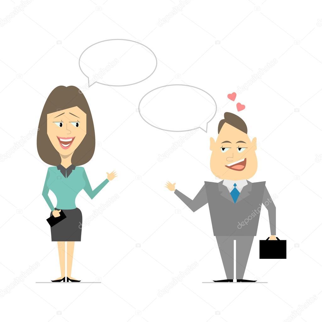 Hablando De Hombres Y Mujeres Negocio De Reuniones Coqueteando