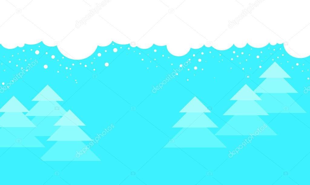 Christmas background Winter cartoon landscape, for website backgrounds, christmas layouts, brochures. Vector