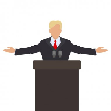 The politician behind the podium. He throws up his hands in greeting. Vecto