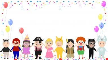 Children's festive background. Children in different carnival costumes. Vector cartoon