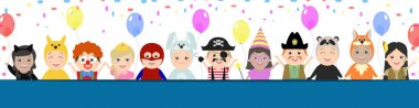 Cap background for a festive design. Children in carnival costumes, vector cartoon