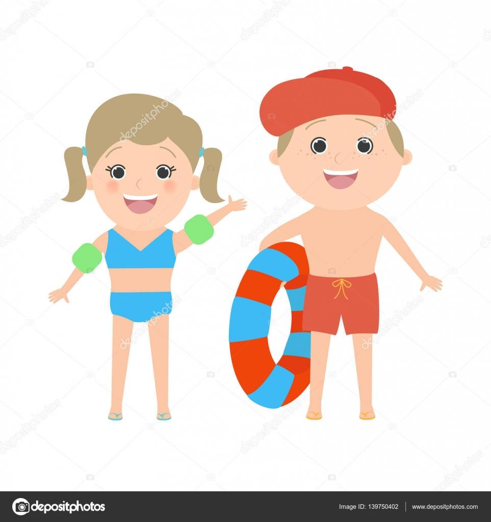 Fondo Dibujo De Dos Niños En La Playa Dos Niños Vestidos En La