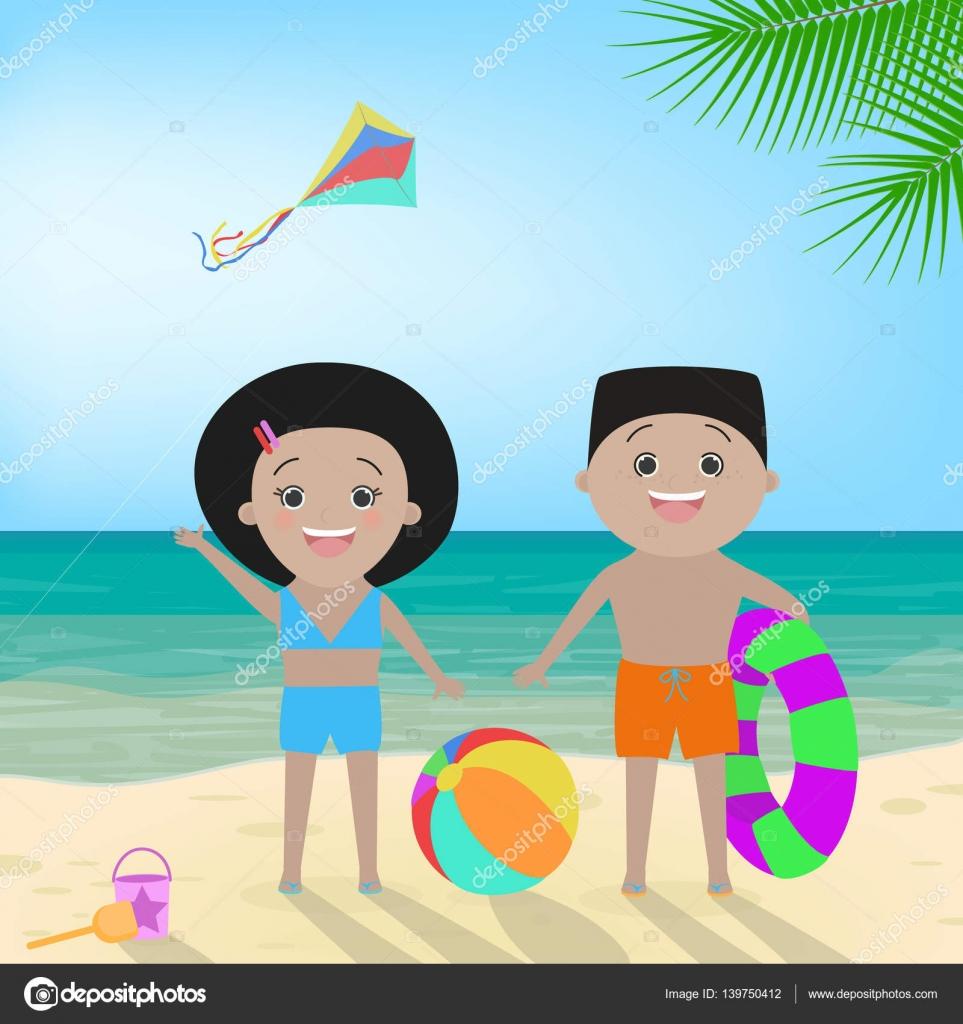 Dibujos Niñas Con Traje De Baño Chico Y Chica En Traje De Baño En