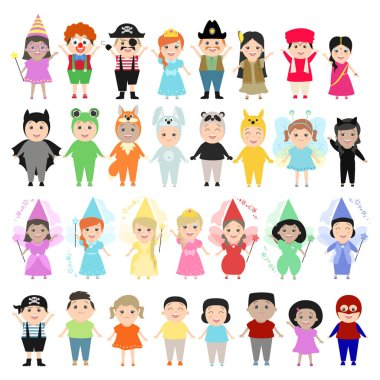 Children in carnival costumes, set. Children of different nationalities in the festivities, theatrical costumes. Cartoon characters, funny kids