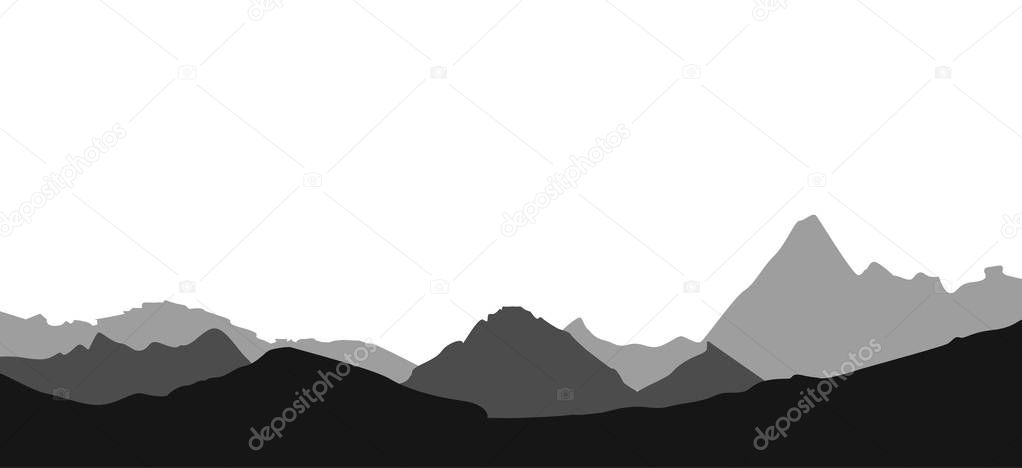 Mountain landscape, black and white, monochrome landscape. Vector