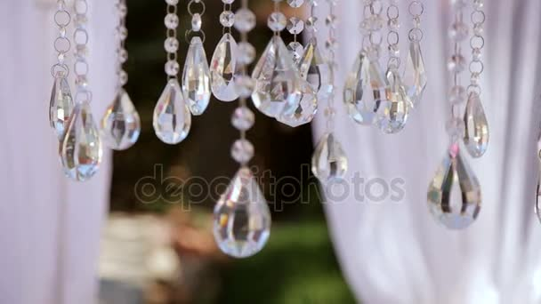 Large Crystals In The Chandelier Wedding Decor Beautiful Arch Stock Footage