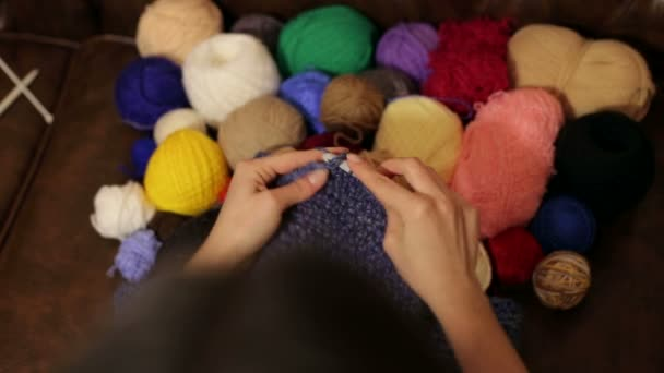 Close Up Of The Hands Of A Girl Who Crochet Scarf Snood Stock