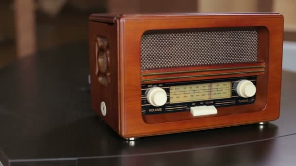 Close-up of brown old vintage radio with dials.