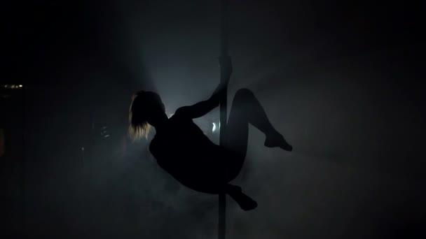Jeden Kavkazský žena pole tanečnice tančí v silhouette studio, pomalý pohyb.