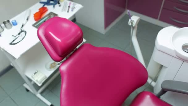 Dental chair and instruments in the dental office.