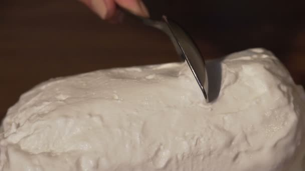 Stříbrná lžíce vybíráním vanilková zmrzlina