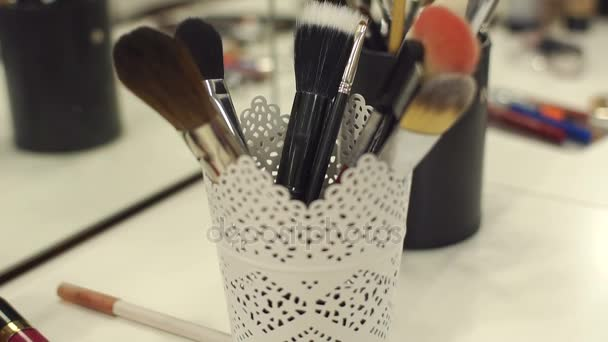 Set of professional brushes for make-up.