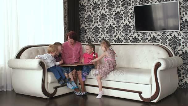 Four little grandchildren come to grandmas house.