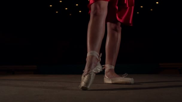 Close-up of ballerina legs in Pointe shoes.