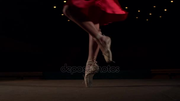 Young ballerina dancing in pointe shoes, close-up.