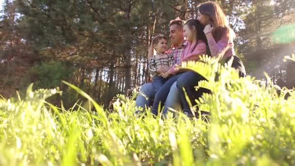 Šťastná rodina v borovém lese na procházce na slunečný den.