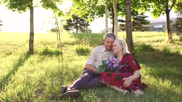 Grandparents 80 years old sitting on grass in Park