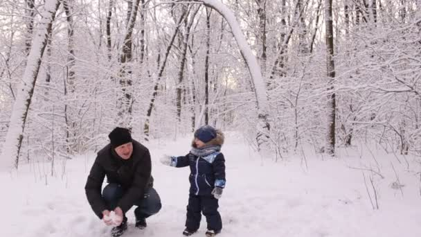 Dad and little son having fun in a snowy forest.